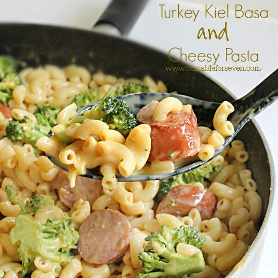 Turkey Kielbasa with Cheesy Pasta #pasta #cheese #turkey #kielbasa #sausage #dinner #tableforsevenblog