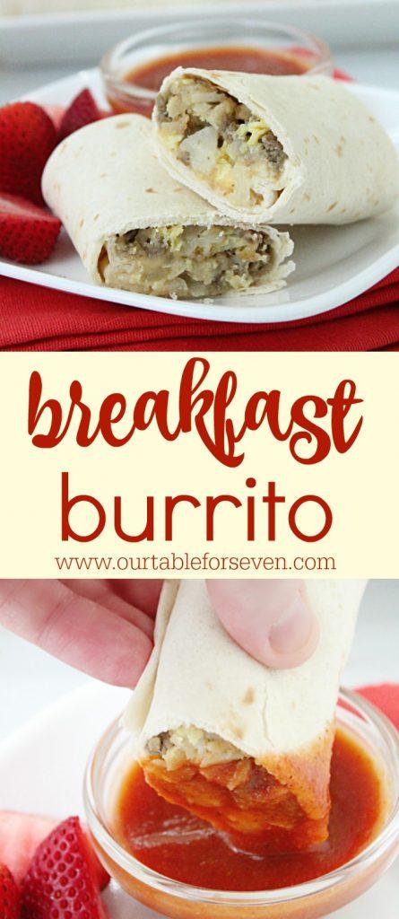 Breakfast Burritos with Homemade Taco Sauce @tableforseven #tableforsevenblog #breakfast #burrito #eggs #sausage #cheese #breakfastburrito