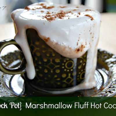 Crock Pot Marshmallow Fluff Hot Cocoa #hotcocoa #hotchocolate #crockpot #slowcooker #marshmallowfluff #tableforsevenblog