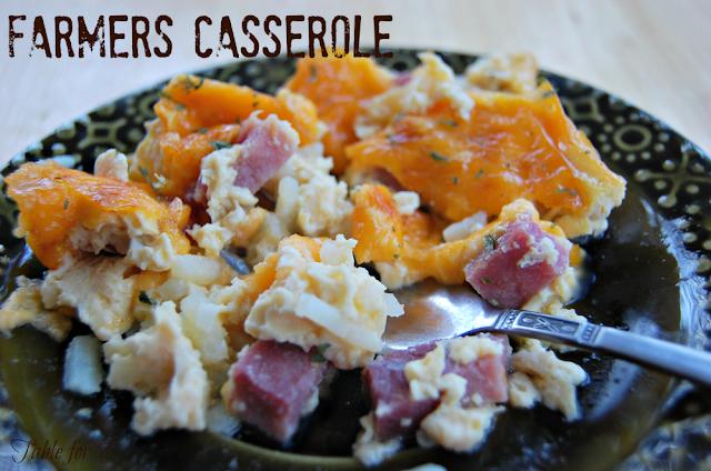 Farmers Casserole #casserole #brunch #tableforsevenblog #eggs #hashbrowns #ham