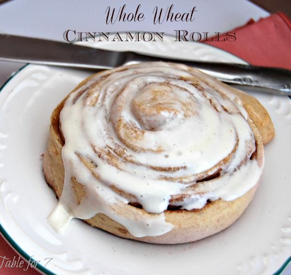 Whole Wheat Cinnamon Rolls #wholewheat #cinnamonrolls #breakfast #tableforsevenblog