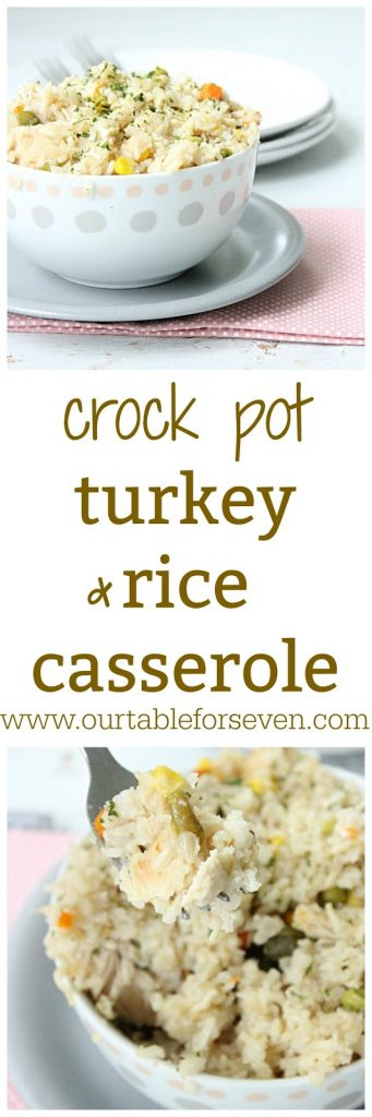 Crock Pot Turkey (or Chicken) and Rice Casserole from Table for Seven