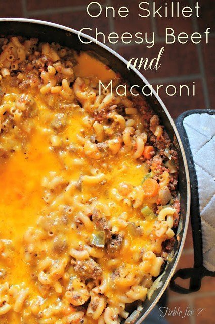 One Skillet Cheesy Beef and Macaroni from Table for Seven