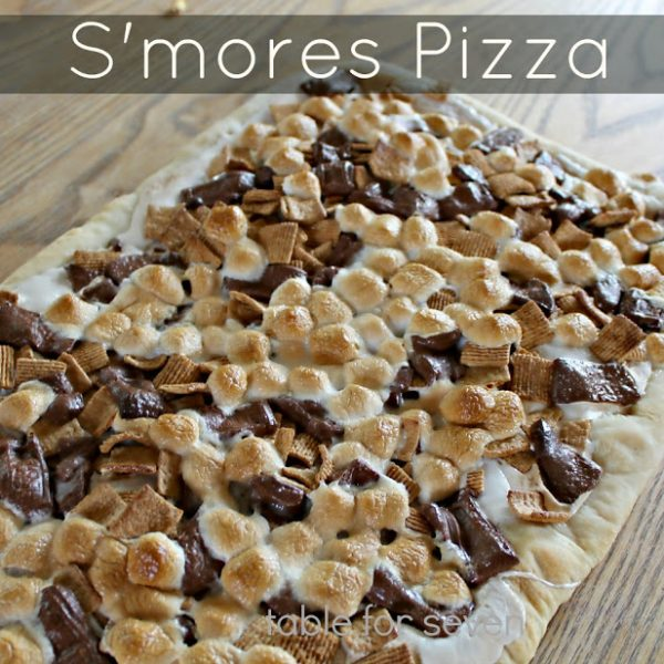 S mores Pizza with Homemade Pizza Dough #tableforsevenblog #pizzadough
