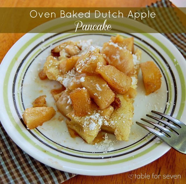 Oven Baked Dutch Apple Pancake #tableforsevenblog #apple #dutchapple #bakedpancake