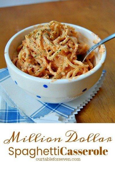 Million Dollar Spaghetti Casserole #spaghetti #casserole #cheese #dinner #recipe #tableforsevenblog @tableforseven