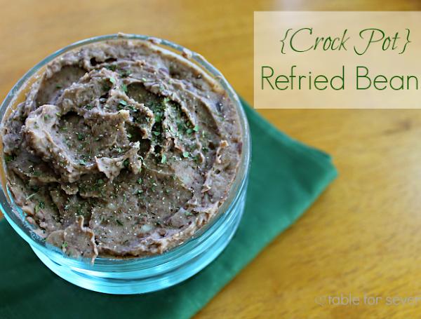 Crock Pot Refried Beans #beans #crockpot #slowcooker #refriedbeans #tableforsevenblog
