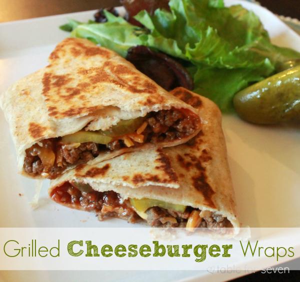 Grilled Cheeseburger Wraps #cheeseburger #groundbeef #groundturkeyt #dinner #tableforsevenblog