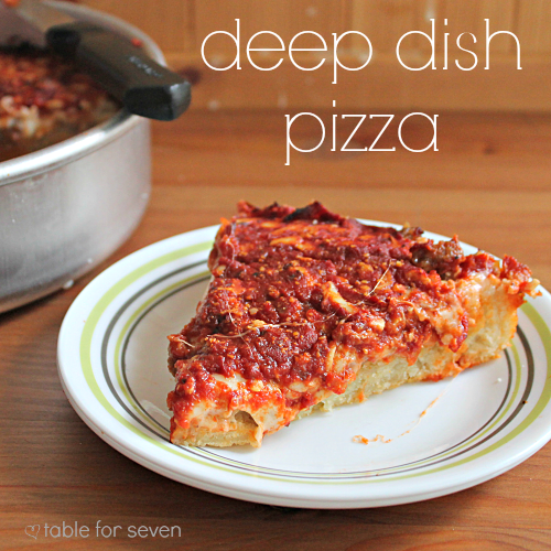 Deep Dish Pizza #pizza #deepdishpizza #dinner #tableforsevenblog