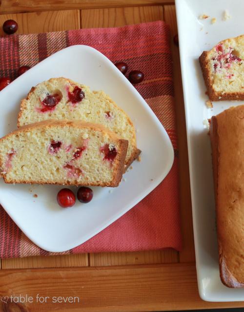 Cranberry Sour Cream Pound Cake #cranberry #sourcream #poundcake #cake #tableforsevenblog