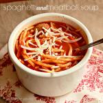 Spaghetti and Meatballs Soup #soup #spaghetti #meatball #dinner #tableforsevenblog