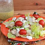 Chicken Cobb Salad with Citrus Basil Vinaigrette #cobbsalad #chicken #tomatoes #salad #lettuce #citrus #dressing #Vinaigrette #tableforsevenblog