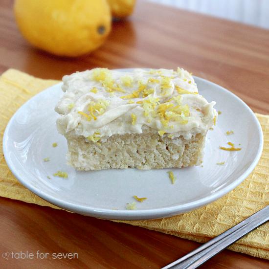 Lemon Snack Cake with the Best Vanilla Frosting Ever #lemoncake #cake #tableforsevenblog #lemon #dessert @tableforseven