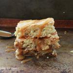 Snickers Blondies #snickerscandy #chocolate #blondies #dessert #tableforsevenblog