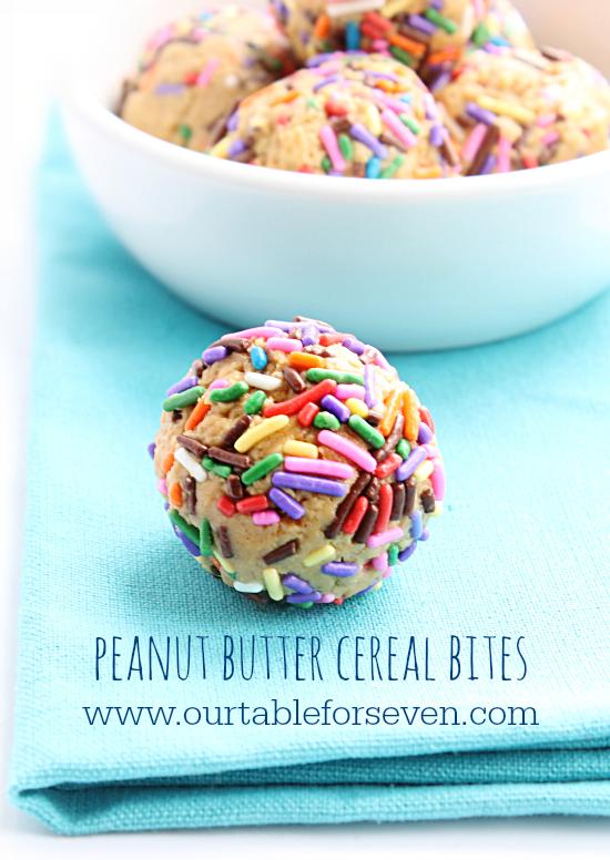 Peanut Butter Cereal Bites #peanutbutter #cereal #bites #tableforsevenblog #nobake