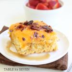 Pancake Casserole #pancake #casserole #tableforsevenblog #pancakescasserole #breakfast #brunch