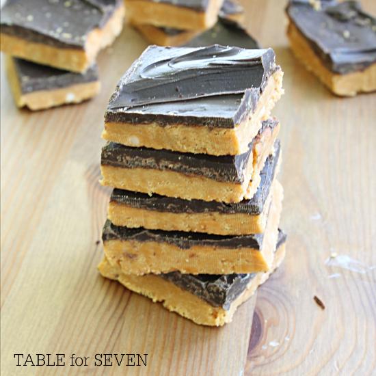 Three Ingredient Butterfinger Bars #butterfingercandy #bars #nobake #dessert #tableforsevenblog