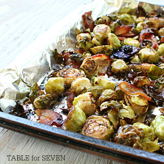 Roasted Brussels Sprouts with Bacon #tableforsevenblog @tableforseven #brusselsprouts #bacon #sidedish