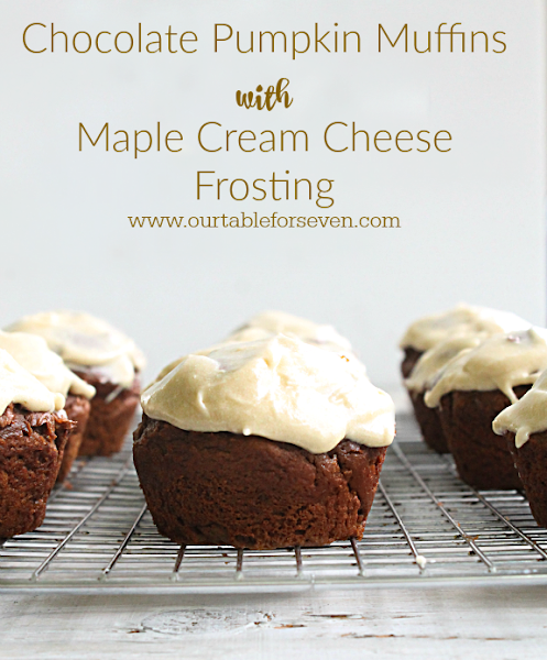 Chocolate Pumpkin Muffins with Maple Cream Cheese Frosting #tableforsevenblog #chocolate #pumpkin #creamcheese #frosting @tableforseven