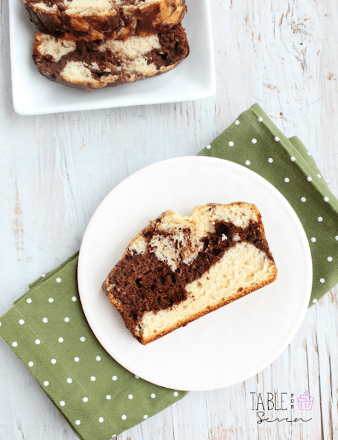 Low Fat Chocolate Marbled Loaf Cake from Table for Seven