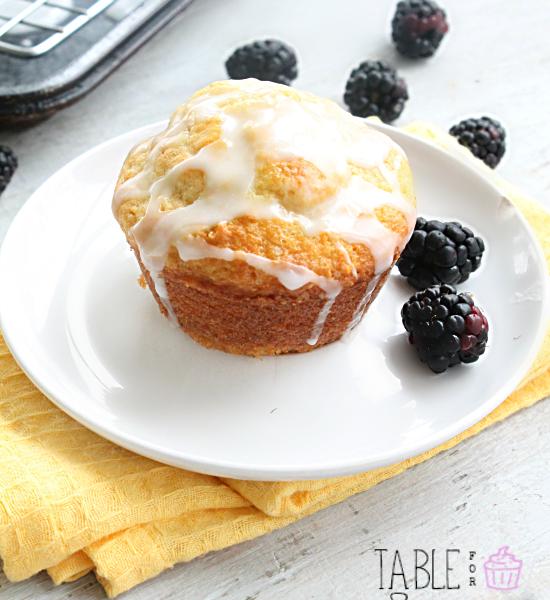 Blackberry Muffins with Lemon Glaze #blackberry #muffins #lemon #lgaze #tableforsevenblog