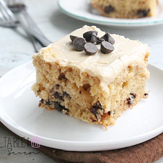 Peanut Butter Chocolate Chip Buttermilk Cake #buttermilk #peanutbutter #chocolatechip #cake #dessert #tableforsevenblog