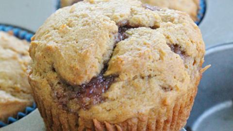 Peanut Butter and Jelly Muffins #peanutbutterandjelly #muffins #jelly #breakfast #tableforsevenblog