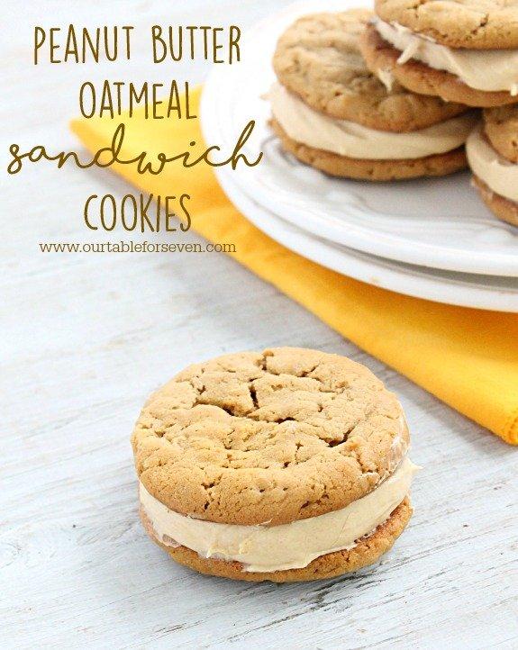 Peanut Butter Oatmeal Sandwich Cookies #cookies #oatmeal #sandwichcookies #peanutbutter #dessert #tableforsevenblog