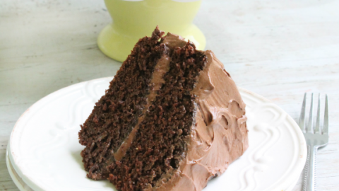 CHOCOLATE MAYONNAISE CAKE WITH CHOCOLATE BUTTERCREAM FROSTING from Table for Seven