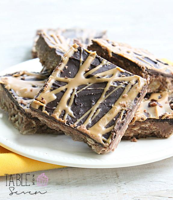 No Bake Chocolate and Peanut Butter Oatmeal Bars #nobake #peanutbutter #oatmeal #nobakebars #chocolate #tableforsevenblog