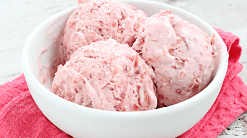 No Churn Rhubarb Ice Cream From Table for Seven