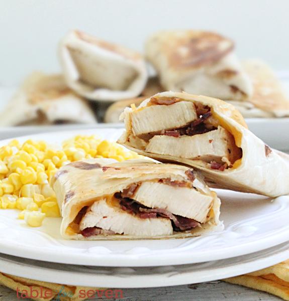 Sweet Chicken Bacon Wraps #bacon #chicken #wraps #tableforsevenblog #dinner