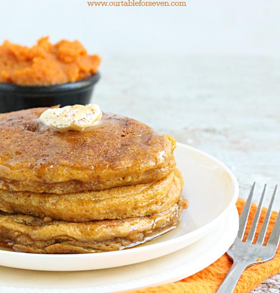 Pumpkin Pancakes #pumpkin #pancakes #tableforsevenblog @tableforseven #breakfast