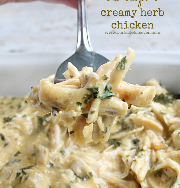 Crock Pot Creamy Herb Chicken from Table for Seven
