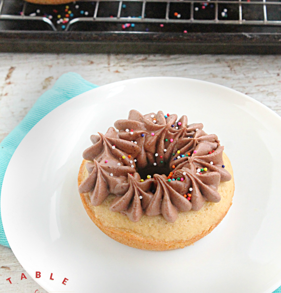 Olive Oil Doughnuts with Chocolate Buttercream Frosting - Table for Seven