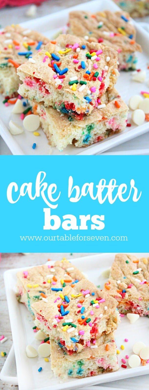 Cake Batter Bars #cakebatter #bars #dessert #cakemix #tableforsevenblog
