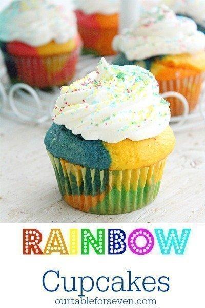 Rainbow Cupcakes #rainbow #cupcakes #cakemix #tableforsevenblog @tableforseven #dessert #recipe