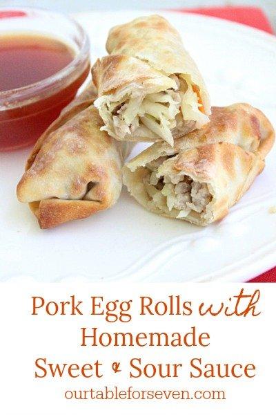 Pork Egg Rolls with Homemade Sweet and Sour Sauce @tableforseven #tableforsevenblog #eggrolls #airfryer #dinner #pork #recipe