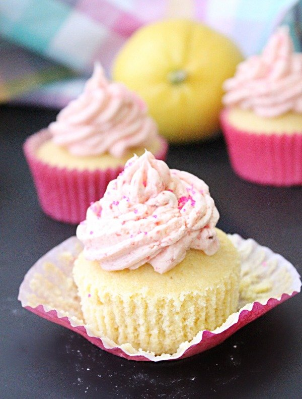 Lemon Cupcakes with Fresh Strawberry Buttercream Frosting from Table for Seven