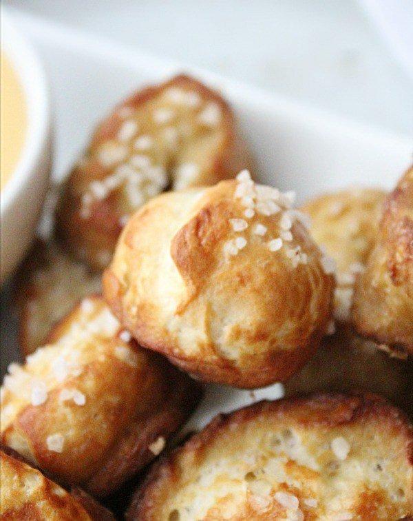 Soft Pretzel Bites with Cheddar Cheese