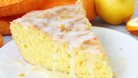 Iron Skillet Lemon Cake with Orange Glaze @tableforseven #tableforsevenblog #lemon #cake #orange #ironskillet #dessert