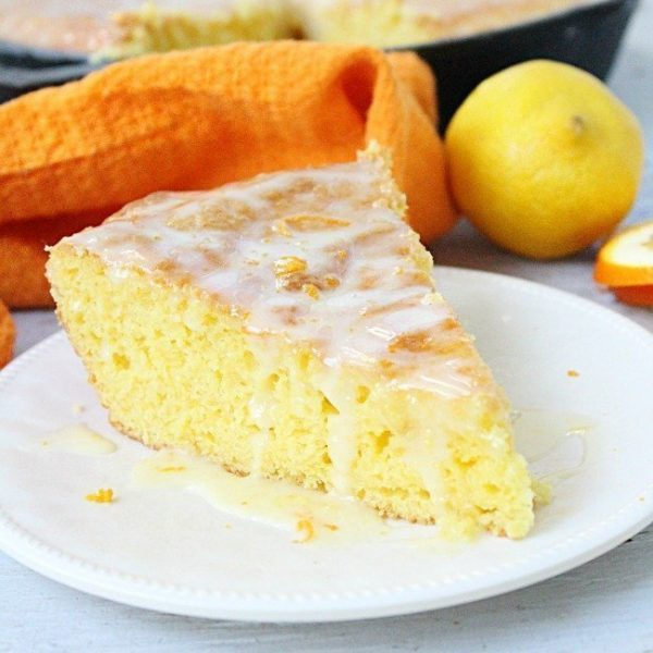Iron Skillet Lemon Cake with Orange Glaze - Table for Seven