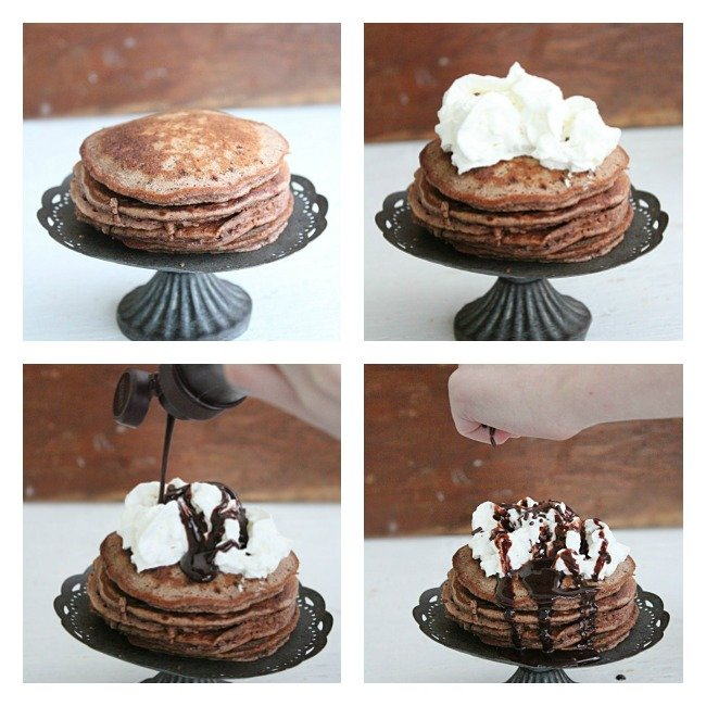 Brownie Batter Pancakes- Table for Seven #pancakes #browniebatter #chocolate