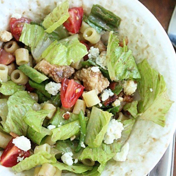 Chicken Chopped Salad with Sweet Italian Dressing #chicken #choppedsalad #Italiandressing #tableforsevenblog #pasta #salad