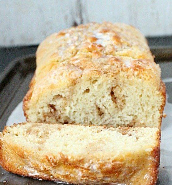 Cinnamon Roll Quick Bread #cinnamonroll #quickbread #cinnamon #glaze #dessert #bread #tableforsevenblog @tableforseven