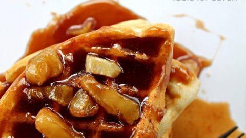 Cinnamon Waffles with Apple Cinnamon Syrup #tableforsevenblog #cinnamon #waffles #apple #syrup