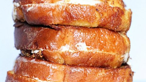 Cream Cheese French Toast- Table for Seven #frenchtoast #stuffed #creamcheese #breakfast #brunch