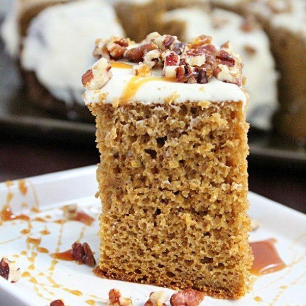 Crock Pot Pumpkin Spice Cake #crockpot #slowcooker #pumpkin #spicecake #creamcheesefrosting #cake #tableforsevenblog