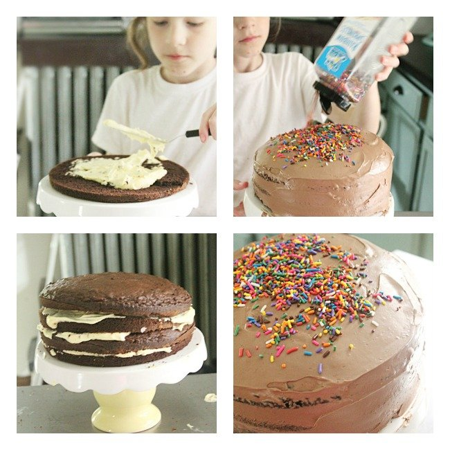 Custard Filled Chocolate Layer Cake- Table for Seven #cake #dessert #chocolate #layercake #custard #tableforsevenblog