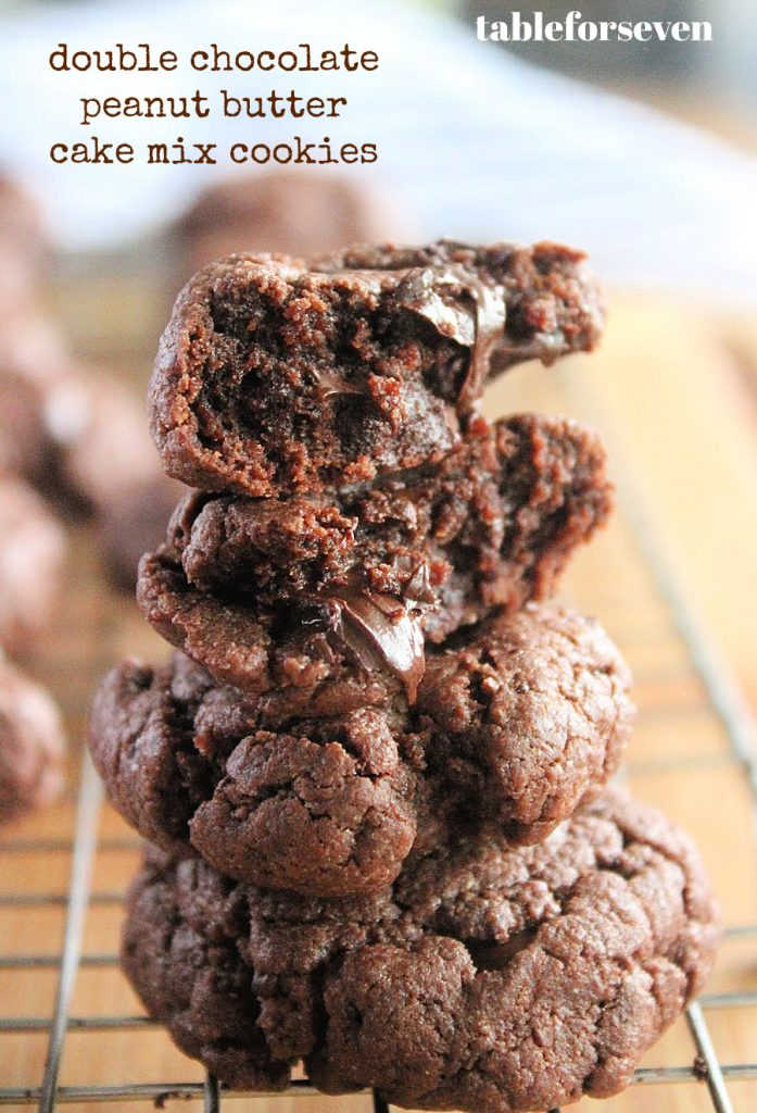 Double Chocolate Peanut Butter Cake Mix Cookies- Table for Seven